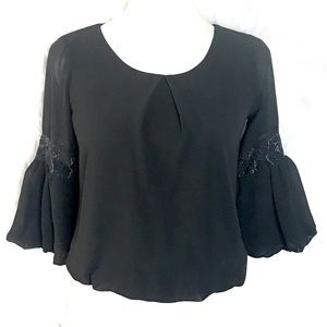 BCX 3/4 bell gold lace sleeve chiffon crop blouse